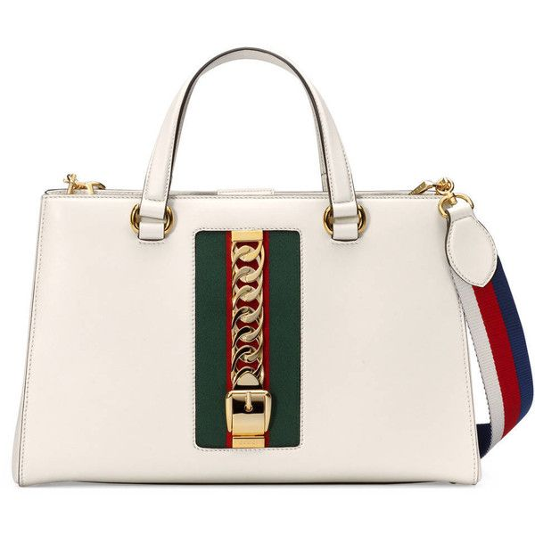 Gucci Sylvie Leather Top Handle Bag ($2,490) ❤ liked on Polyvore featuring bags, handbags, white, top handle purse, white purse, top handle handbags, chain handle handbags and gucci purses