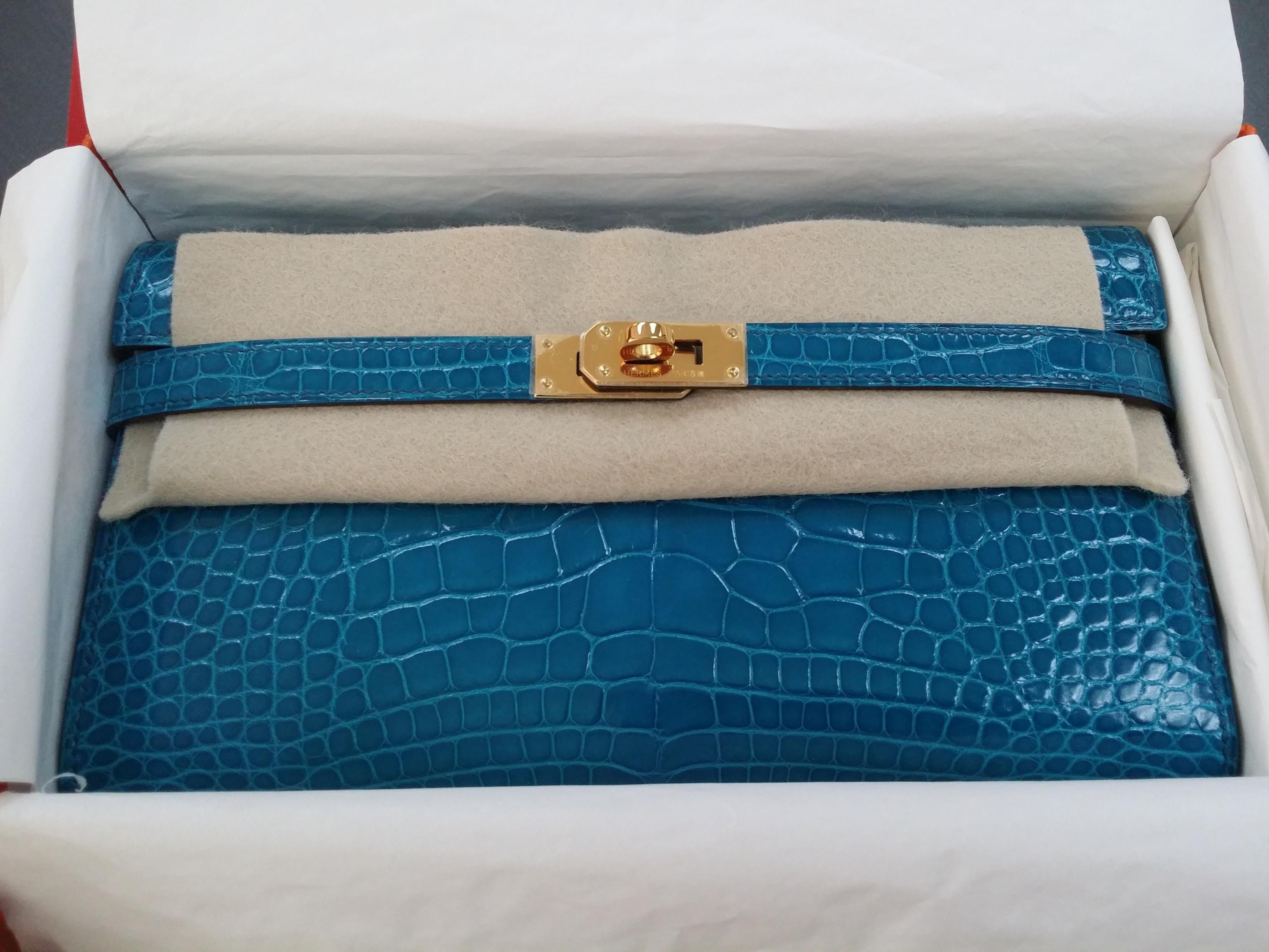 016d7e592d Hermes Croc Kelly Wallet - Blue Izmir
