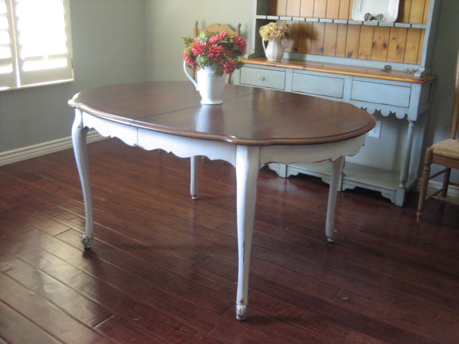 Painted white distressed kitchen tables euro european for Painted kitchen table ideas