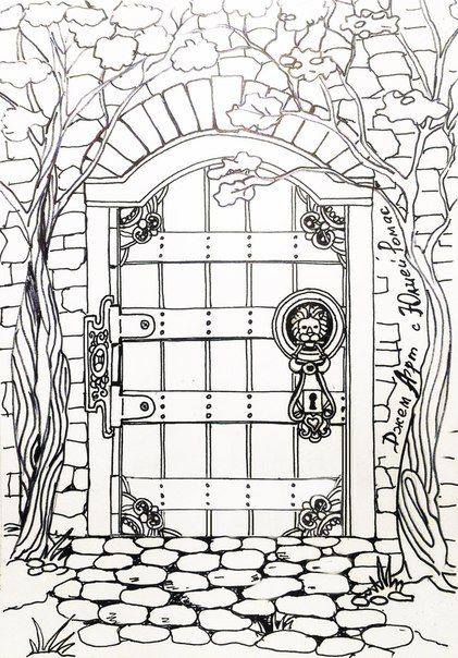 coloring pages of door - photo#49