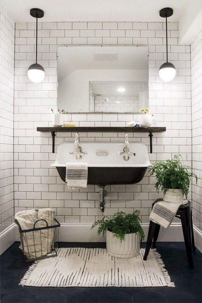 40 Comfy Farmhouse Bathroom Makeover Ideas Vintage Bathroom