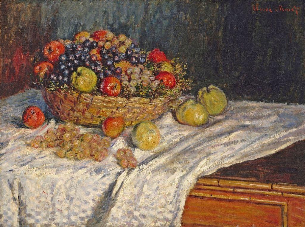 Corbeille de fruits - pommes et raisin (C Monet - W 545),1879