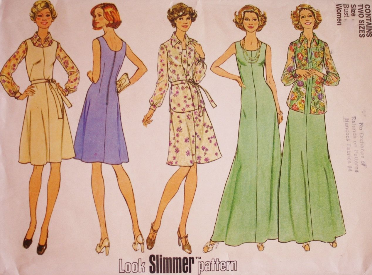 Simplicity 6999 / 70s Dress / 70s Shirt Jacket Sewing Pattern / Plus ...