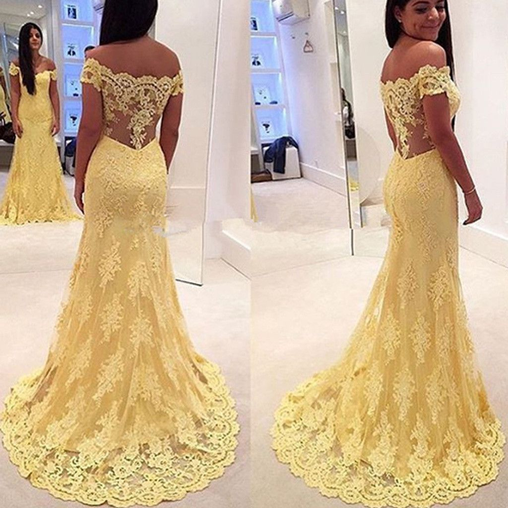 Off shoulder yellow lace long mermaid sheer long prom dresses