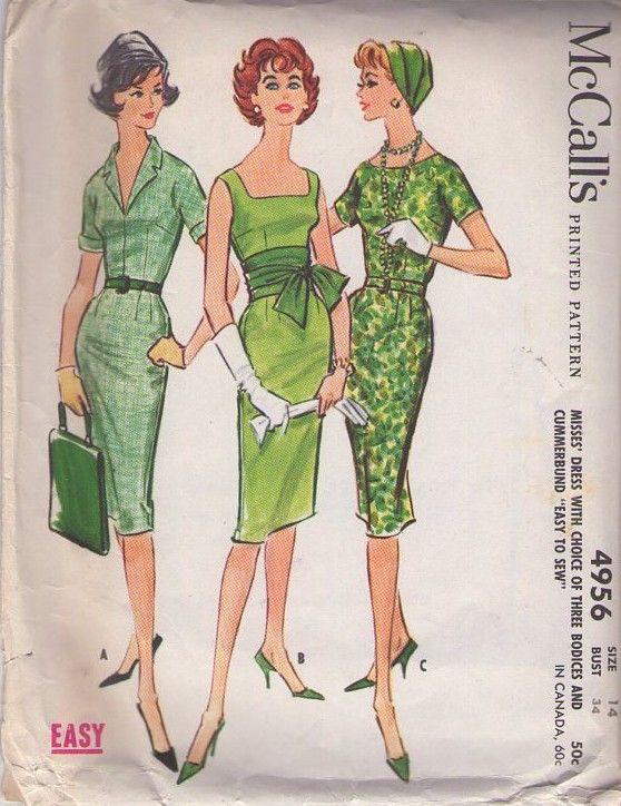McCalls 4956 Vintage 50s Sewing Pattern SIZZLING Rockabilly Mad Men Bombshell Pinup Curve Hugging Sheath Dress
