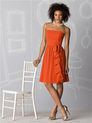 Bridesmaid dress- tangerine tango