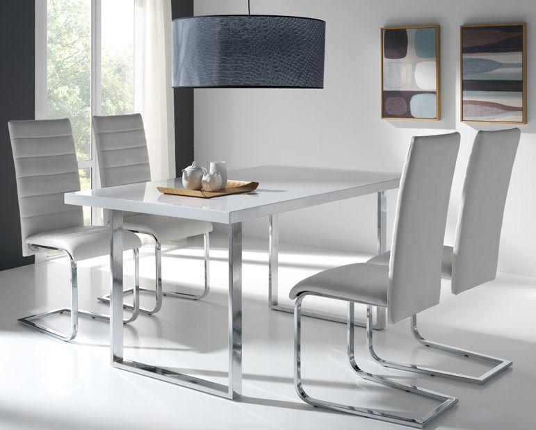 Dm lacado patas cromadas colores marfil blanco o negro for Mesas y sillas modernas
