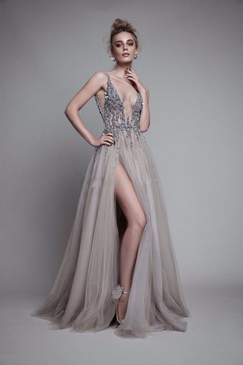 1aa3dc5dd356d Sexy Paolo Sebastian Evening Dresses 2017 Deep V Neck Sequins Tulle High  Split Long Gray Prom Dress Sheer Backless Party Dress