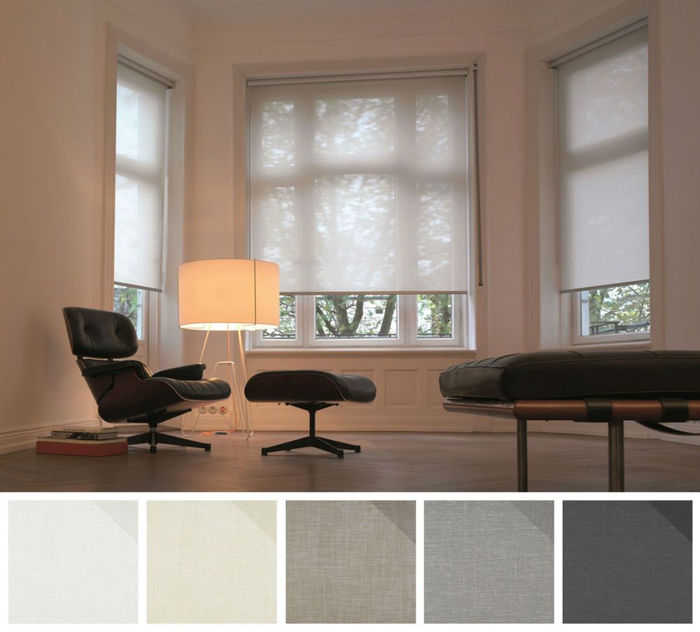 Details About Sheer Voile See Through Roller Blinds White Cream Black Grey Or Sage House