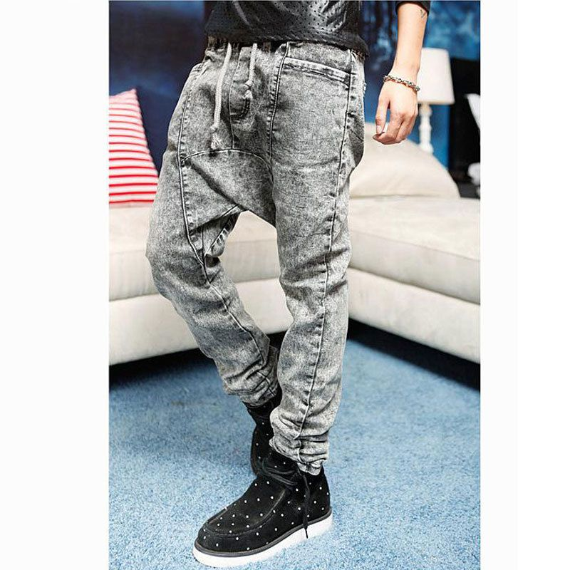 Korean Design Low Drop crotch Denim Jeans Harem