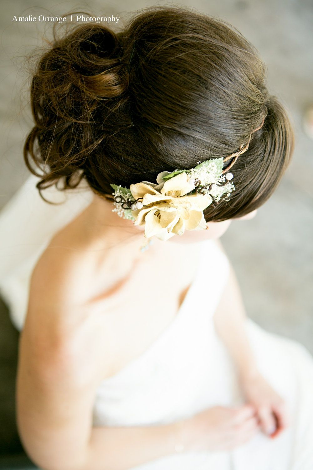 bridal headpiece, natural pine cone rose floral hair crown \'Take my ...