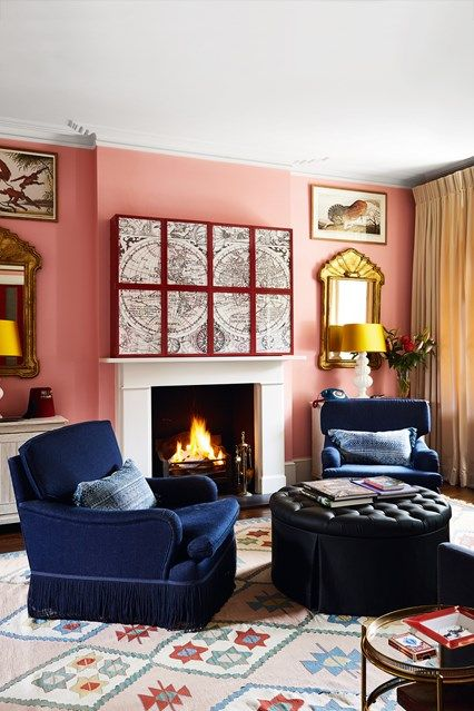 Pink Living Room with Dark Blue Chairs | Pink room, London house ...