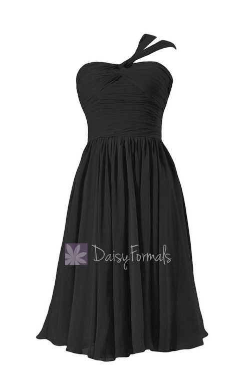one shoulder chiffon black and white sweetheart bridesmaid dresses