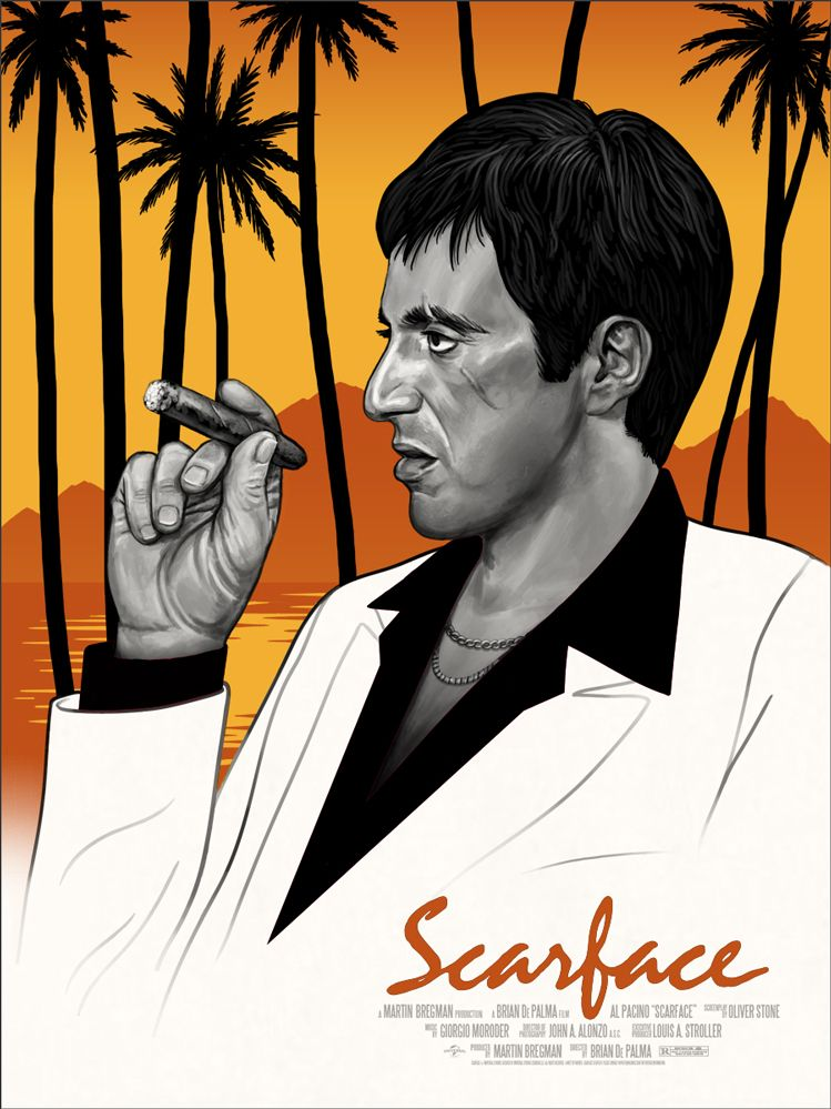 Scarface Poster Mike Mitchell Alpacino Scarface Pelicula