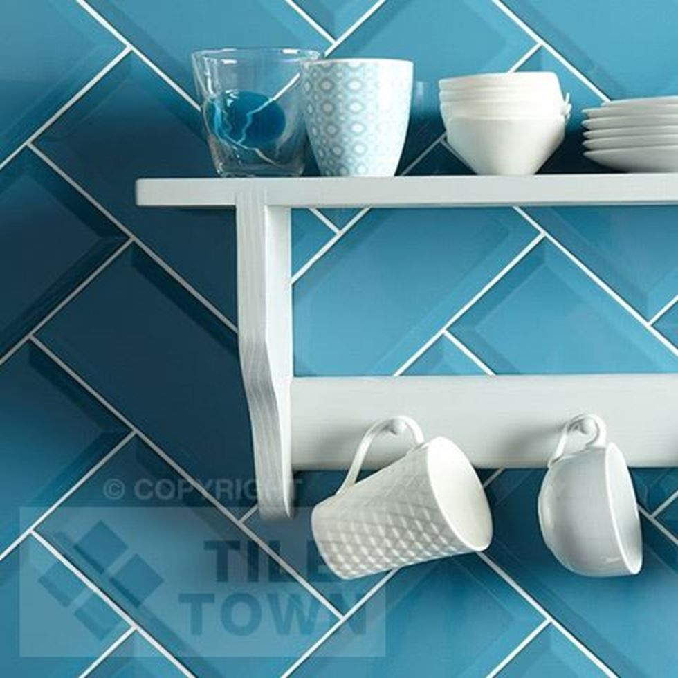 Metro Teal. This teale coloured kitchen & bathroom wall tile has a ...