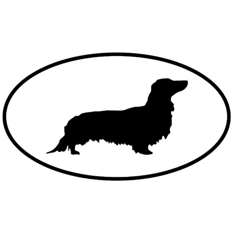 Long Haired Dachshund Oval Car Decal 14 8 X 8 2cm 13 Colours