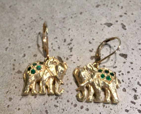 Vintage pair 14k gold emerald elephant earrings elephant vintage pair 14k gold emerald elephant earrings freerunsca Images