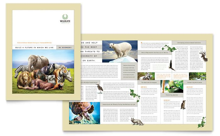 nature and wildlife conservation brochure design template by