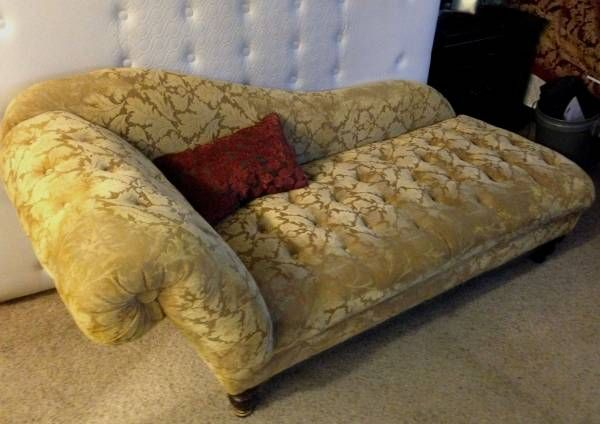 Yellow tufted chaise lounge; for sale on Craigslist ....$200 ... on chaise sofa sleeper, chaise recliner chair, chaise furniture,
