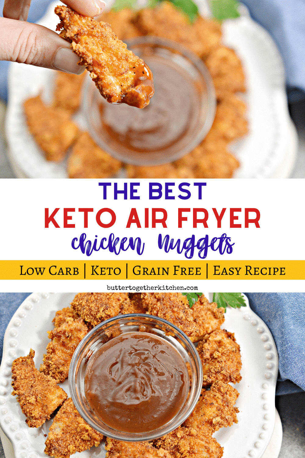 These Air Fryer Keto Chicken Nuggets are SO juicy, crispy, and delicious! You will love this quick and delicious meal. @perduefarms #PerdueFarmsFarmtoHome #PerdueFarms_Partner #AD #ketochickennuggets #ketoairfryerchicken #ketoairfryerchickennuggets