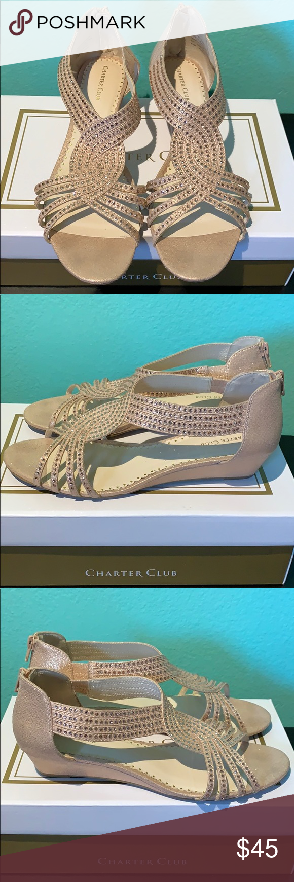 Rose Gold Sparkly Low Wedge Sandals Worn once for a wedding and they are extremely comfortable and practically new! Charter Club Shoes Wedges #lowwedgesandals