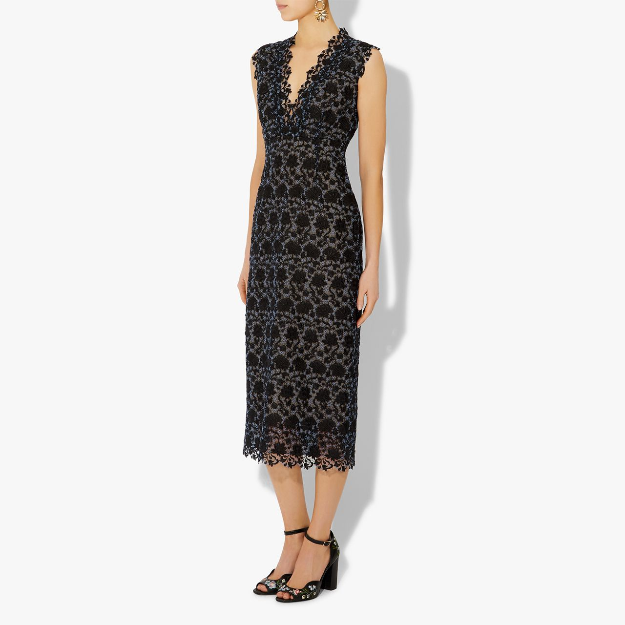 Lace below knee dress  Eleri Guipure Lace Dress  Blackmu Blue  Erdem  Dresses