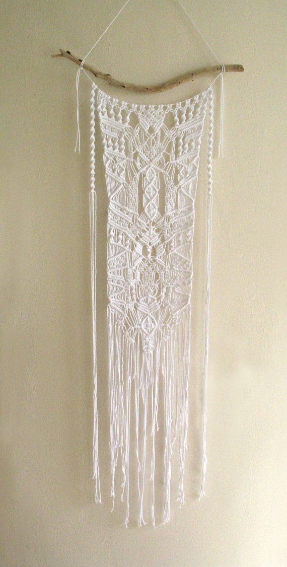Macrame Ornate Lace Effect Boho Driftwood Wall Hanging White Cotton Tribal Style Mobile