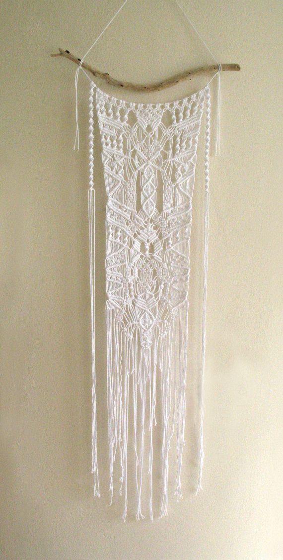Macrame Ornate Lace Effect Boho Driftwood Wall Hanging White Cotton Tribal Style Mobile