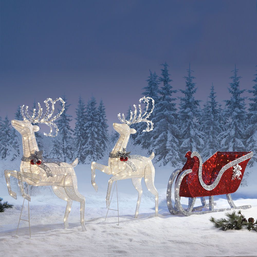 New! Sleigh & Reindeers with 400 LED Lights Outdoor Garden