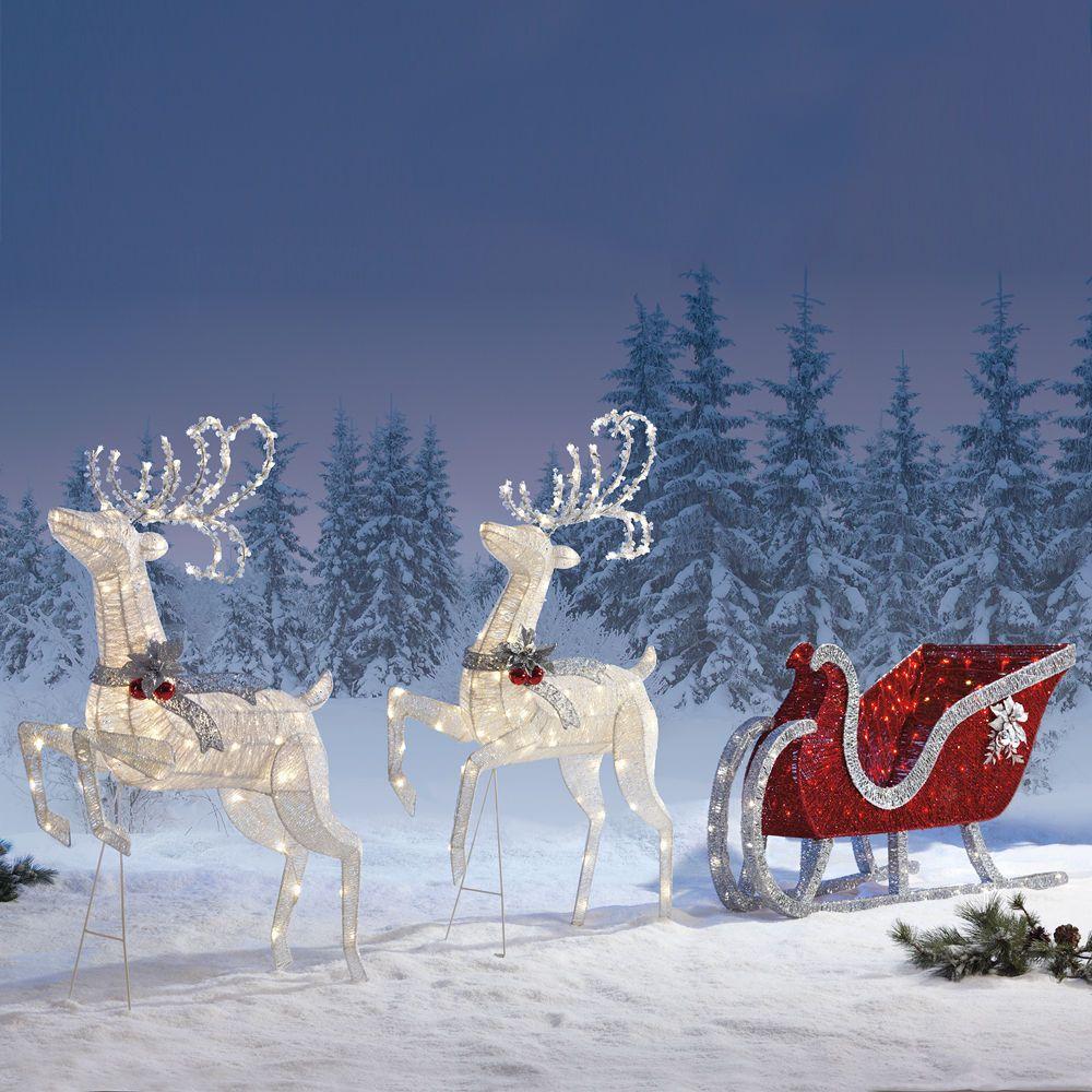 Christmas sleigh outdoor indoor christmas decoration for Quality outdoor christmas decorations