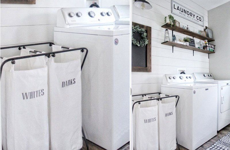 Lights And Darks Double Laundry Hamper In 2020 Double Laundry