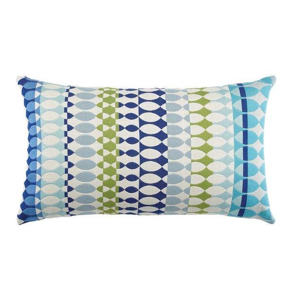Elaine Smith Designer Outdoor Lumbar Pillow   Modern Oval Ocean