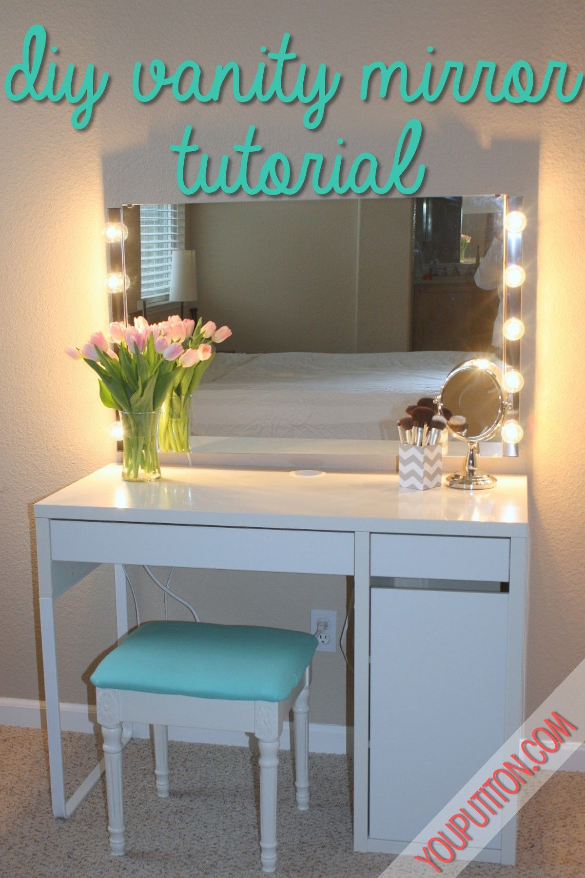 Prop up 5 walmart mirror with lamps around paint a cheap desk