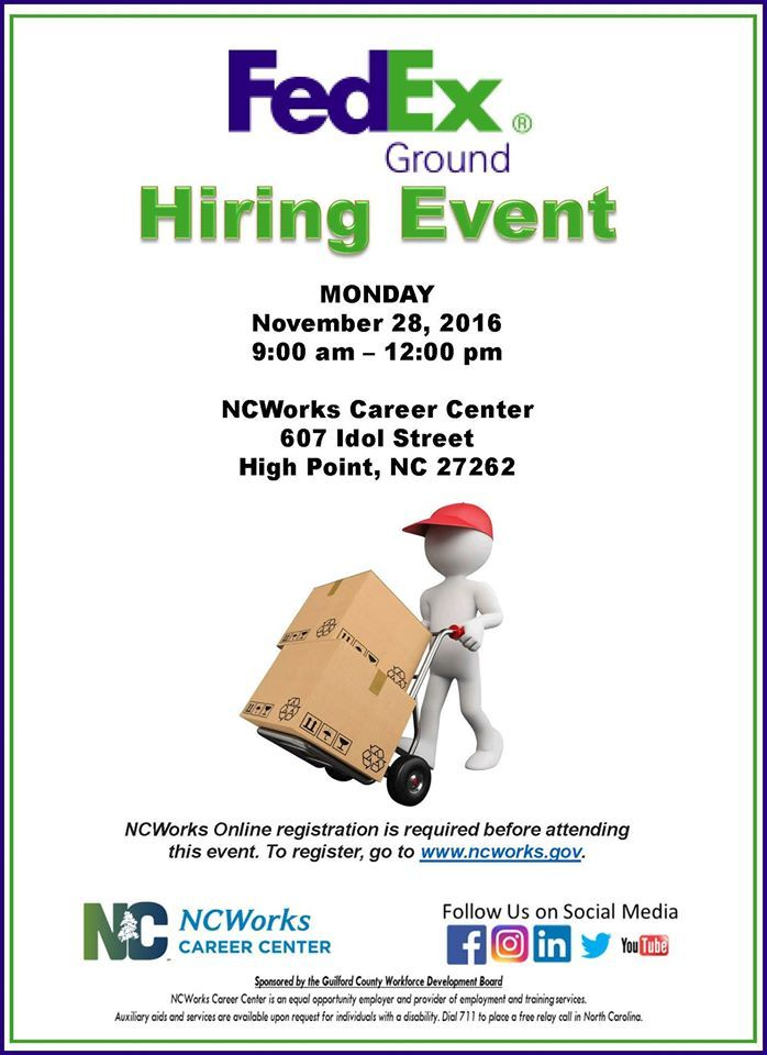 Fedex Careers Pinncworks Career Center  Guilford County On Jobs Careers .