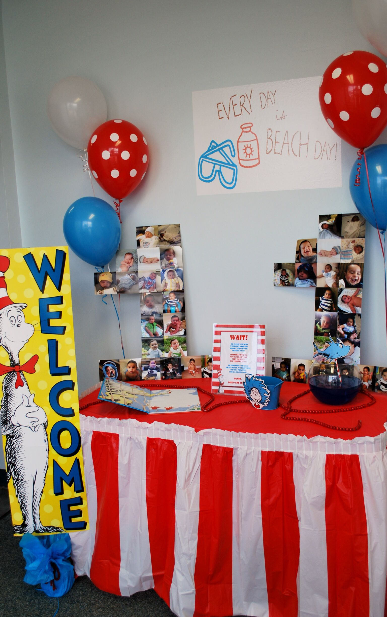 Welcome table ideas Twins 1st Birthday Party Cat and the Hat