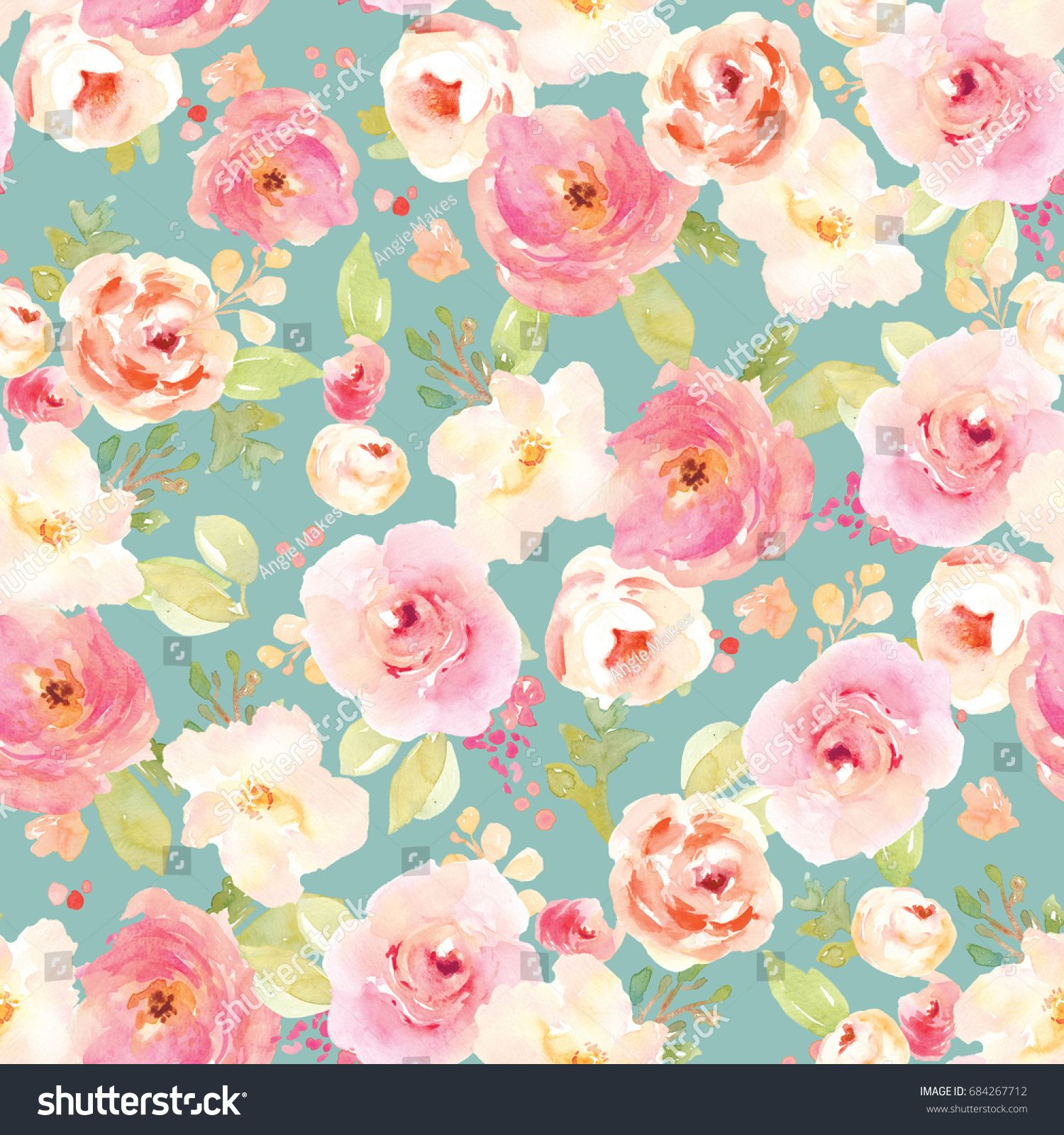 Cute Vintage Watercolor Flower Pattern With Teal Background