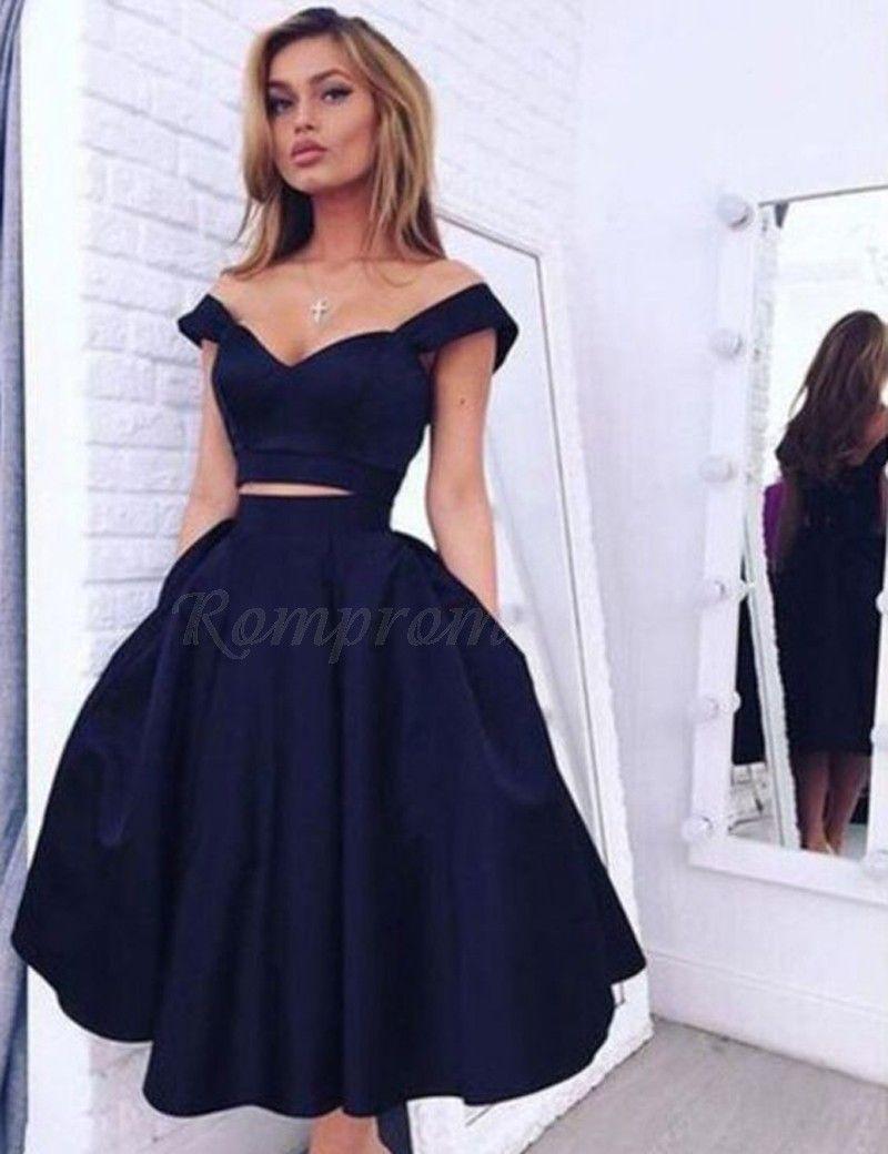 Aline offtheshoulder midcalf open back navy blue prom dress with