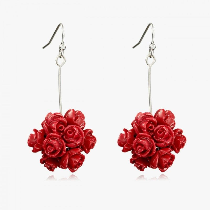 Ball Drop Earrings Red Coral Rose Flower Dangle Flower Ball Ball Drop Rose Jewelry
