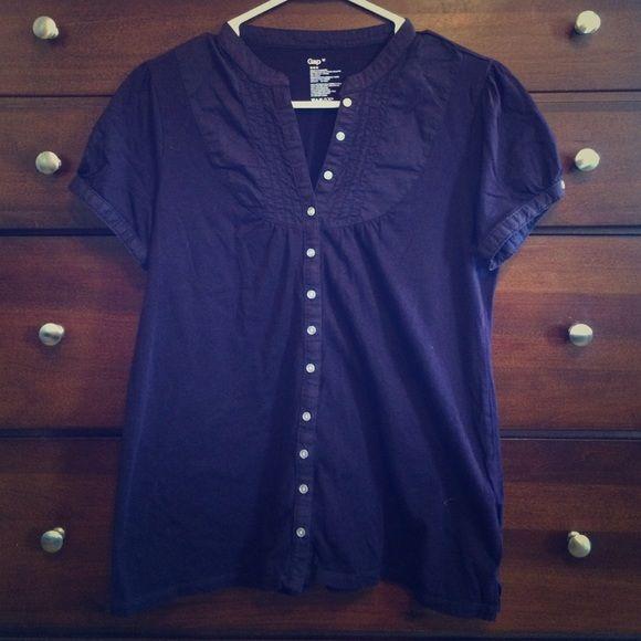 Purple Gap short sleeve shirt Gap dark purple shirt. Medium with cute little clear buttons. GAP Tops Blouses