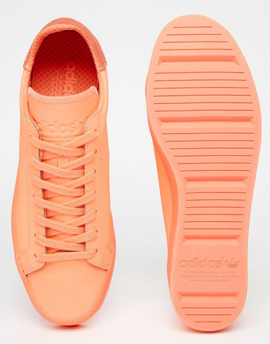 Image 3 of adidas Originals Court Vantage adicolor Trainers In Orange S80257