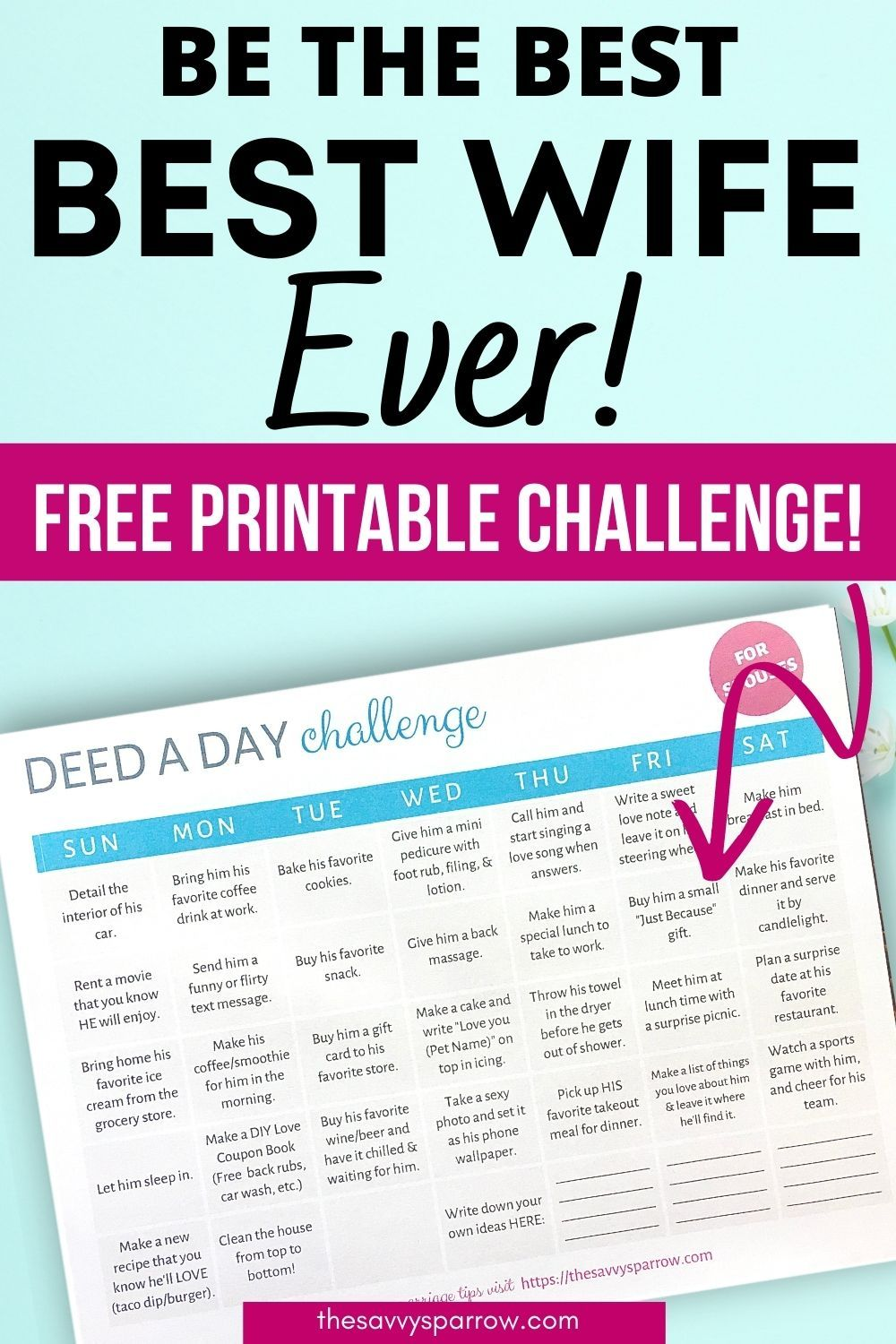 How To Be A Better Wife Do Nice Things For Your Husband Use This Printable Marriage Challenge Marriage Challenge Good Wife Marriage Tips