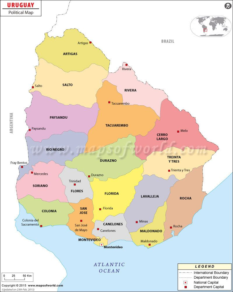Political map of uruguay maps globes pinterest uruguay and political map of uruguay gumiabroncs Image collections