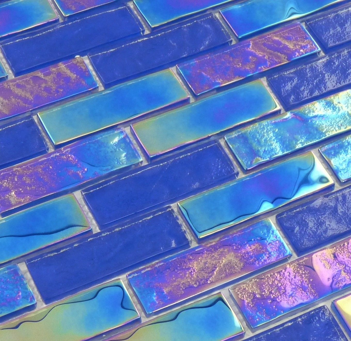 Tesoro Naval Blue 1 X 3 Glossy Iridescent Glass Tile Tasnautnaval13 Iridescent Glass Tiles Mermaid Tile Floor Colors