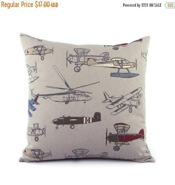Vintage Airplane Throw Pillow Cover 40x40 Gray World Travel Decor Beauteous Airplane Decorative Pillow