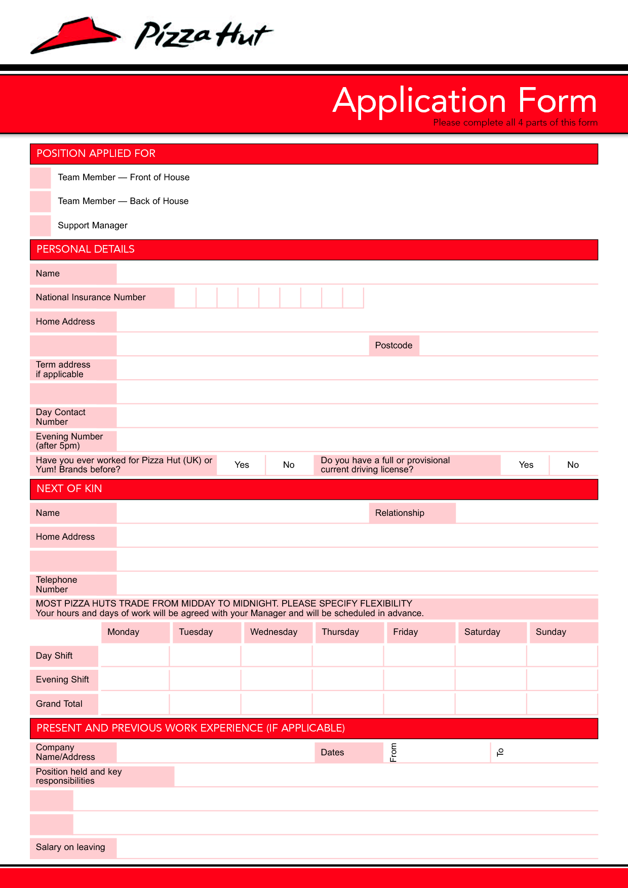 Pizza Hut Job Application Form Application Form for