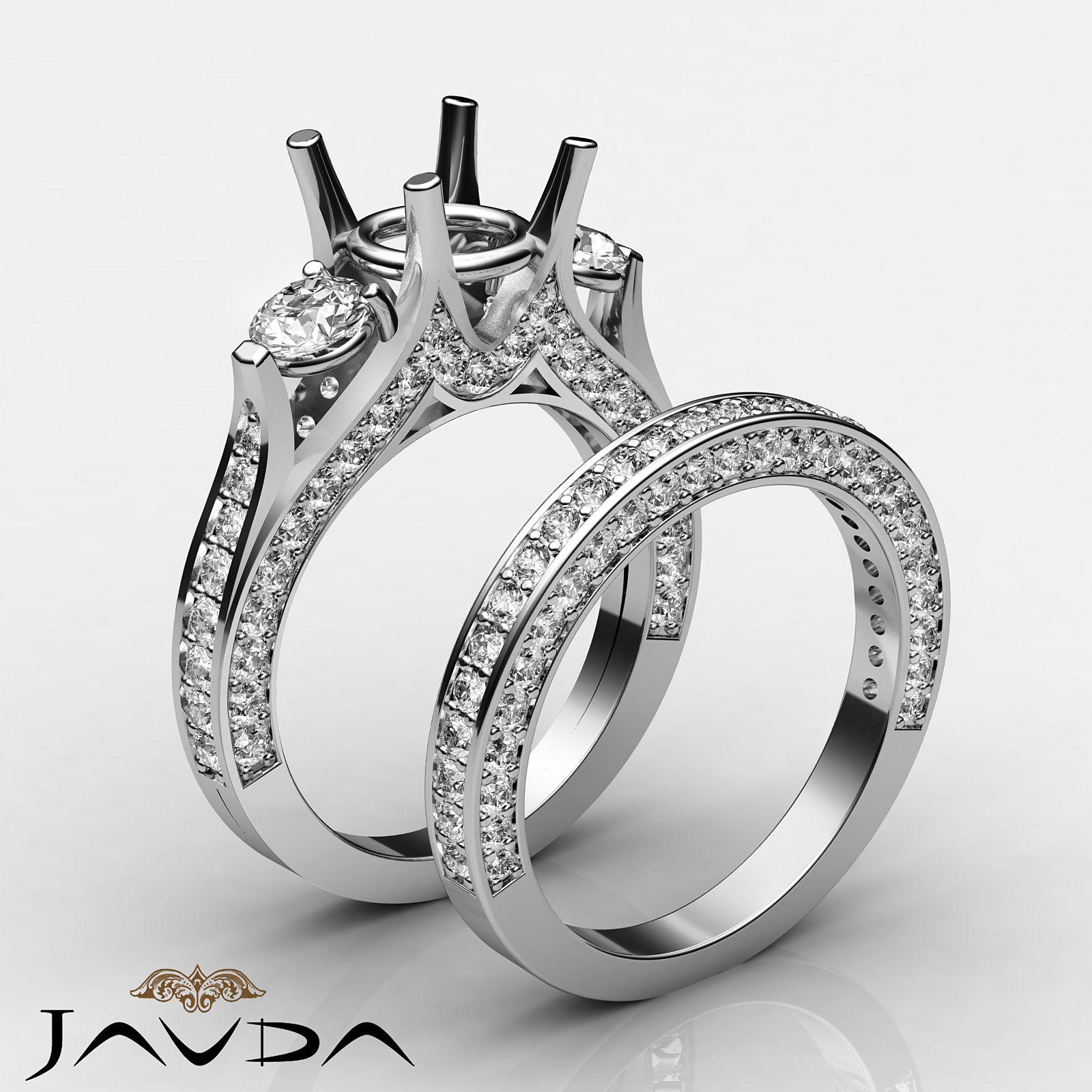 Round Diamond Engagement Unique Three Stone Ring 14k White
