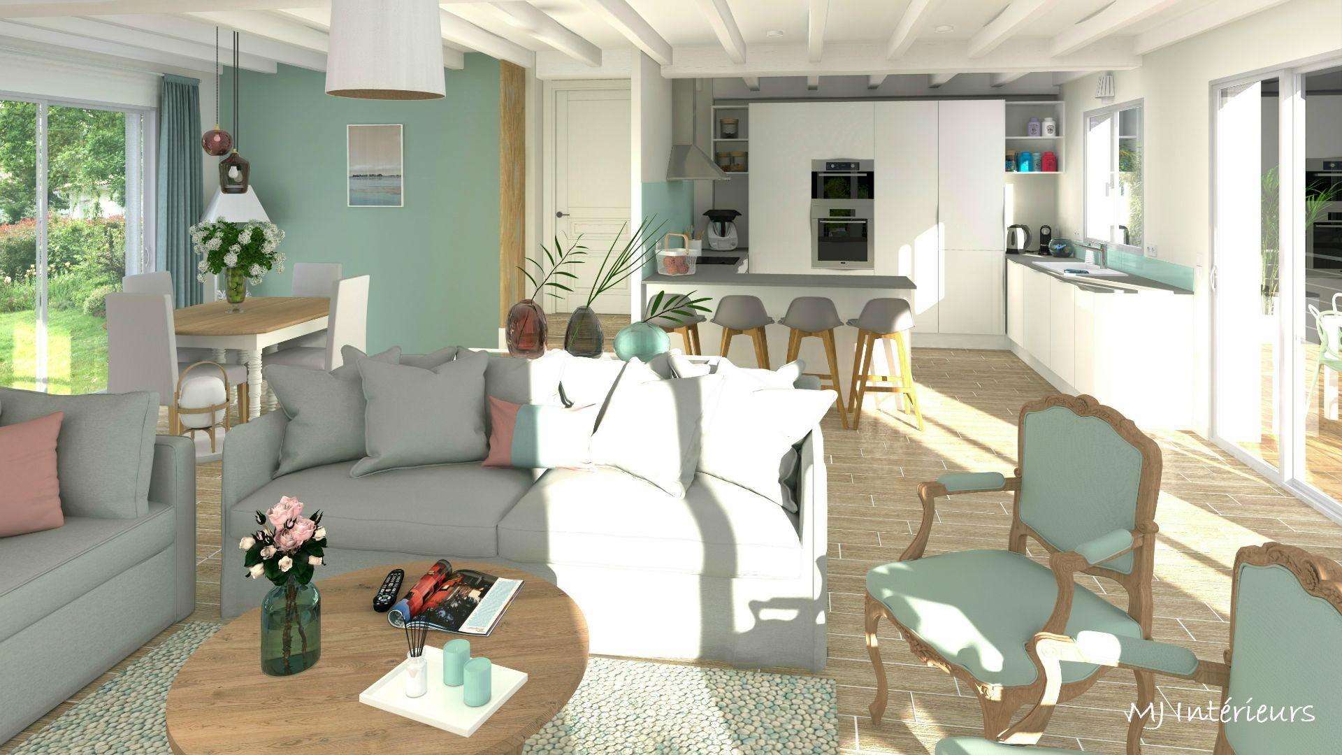 Renovation D Une Spacieuse Piece A Vivre Dans Une Maison Des Annees 80 A Meschers Sur Gironde 17 Par Mj Decoration Interieure Decoration Maison Piece A Vivre