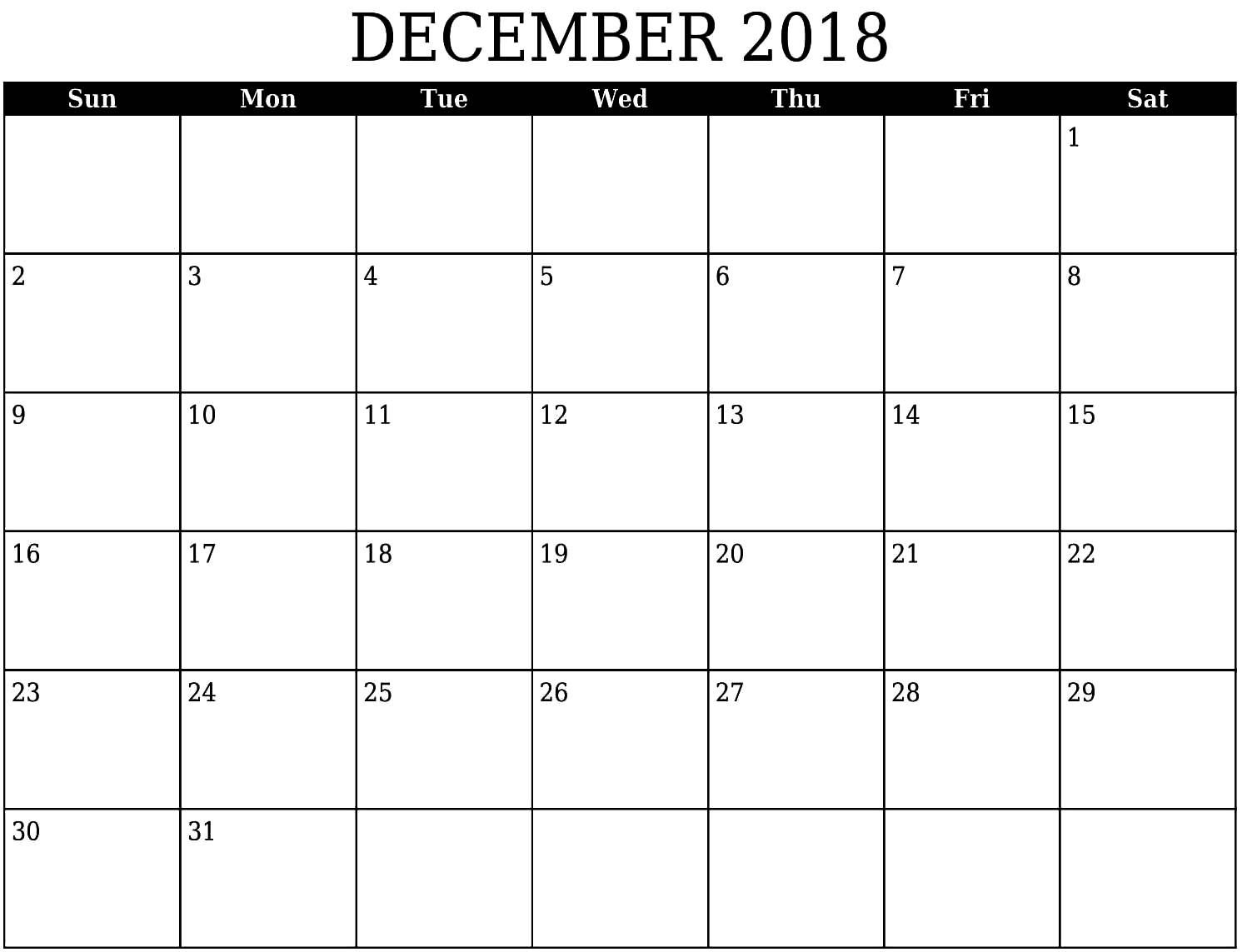 picture about Printable Calendar December Pdf referred to as Blank Calendar December 2018 within just PDF Term Excel December