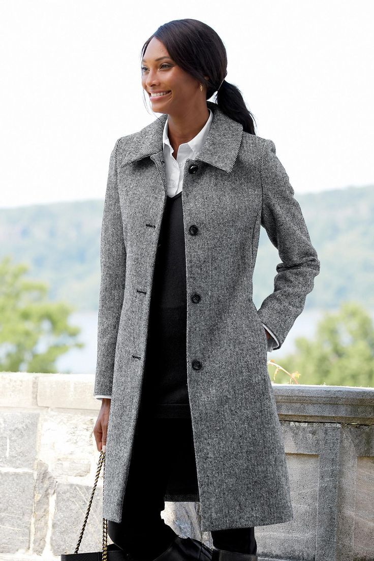 3/4 Length Wool-Blend Coat | Chadwicks of Boston 2