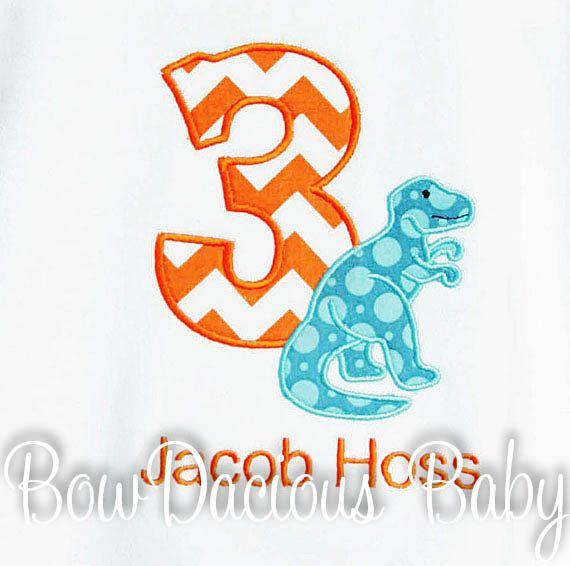 T Rex Birthday Shirt, Dinosuar Birthday Number, Monogrammed, Boys Birthday Shirt, Shirt,Tank,Bodysuit,Romper,Gift